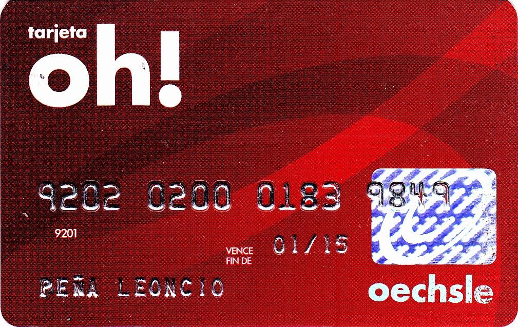 Numero de tarjeta oh